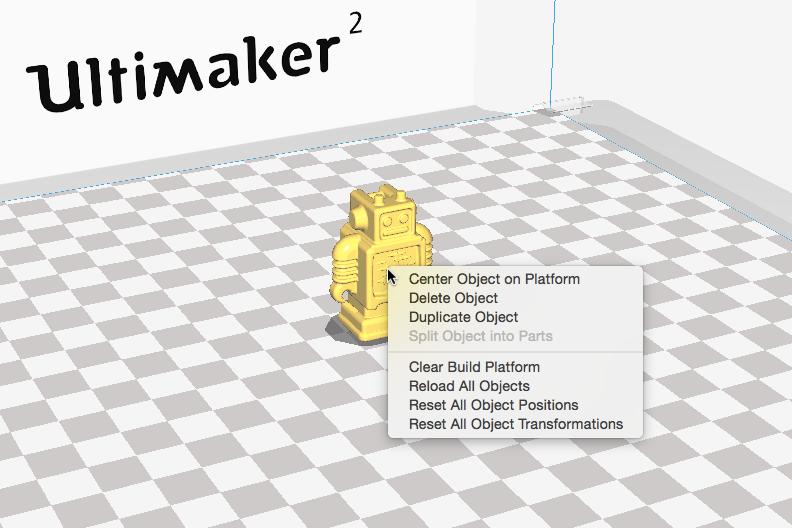 Ultimaker 2 3D印表機 cura15.06 切片軟體 右鍵