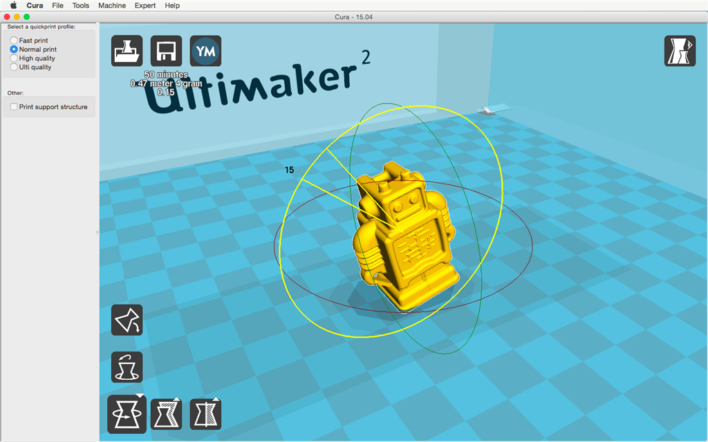 Ultimaker 2 3D印表機 cura15.04 切片軟體 旋轉