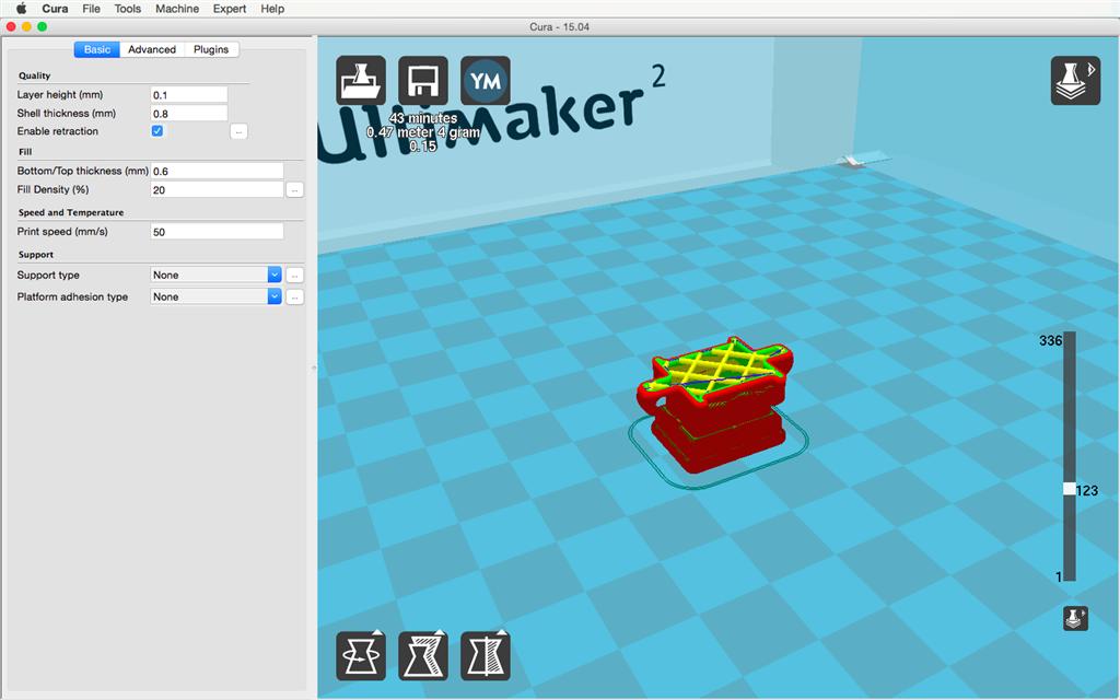 Ultimaker 2 3D印表機 cura15.04 切片軟體 fill 填充率