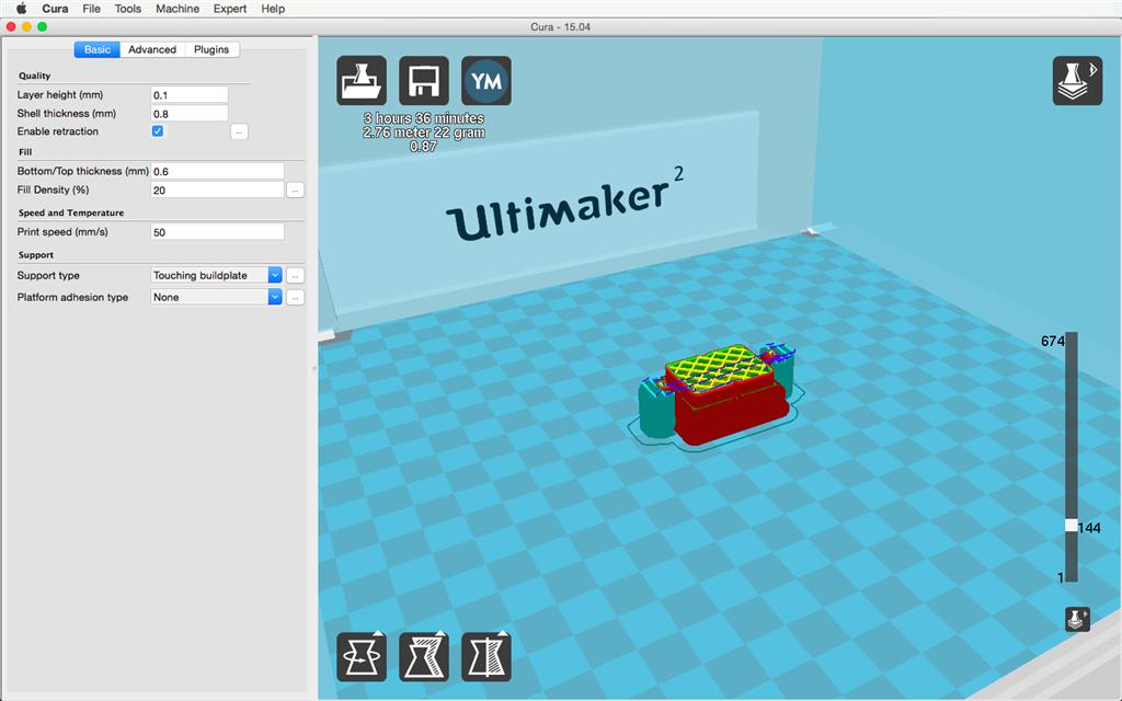Ultimaker 2 3D印表機 cura15.04 切片軟體 支撐 support