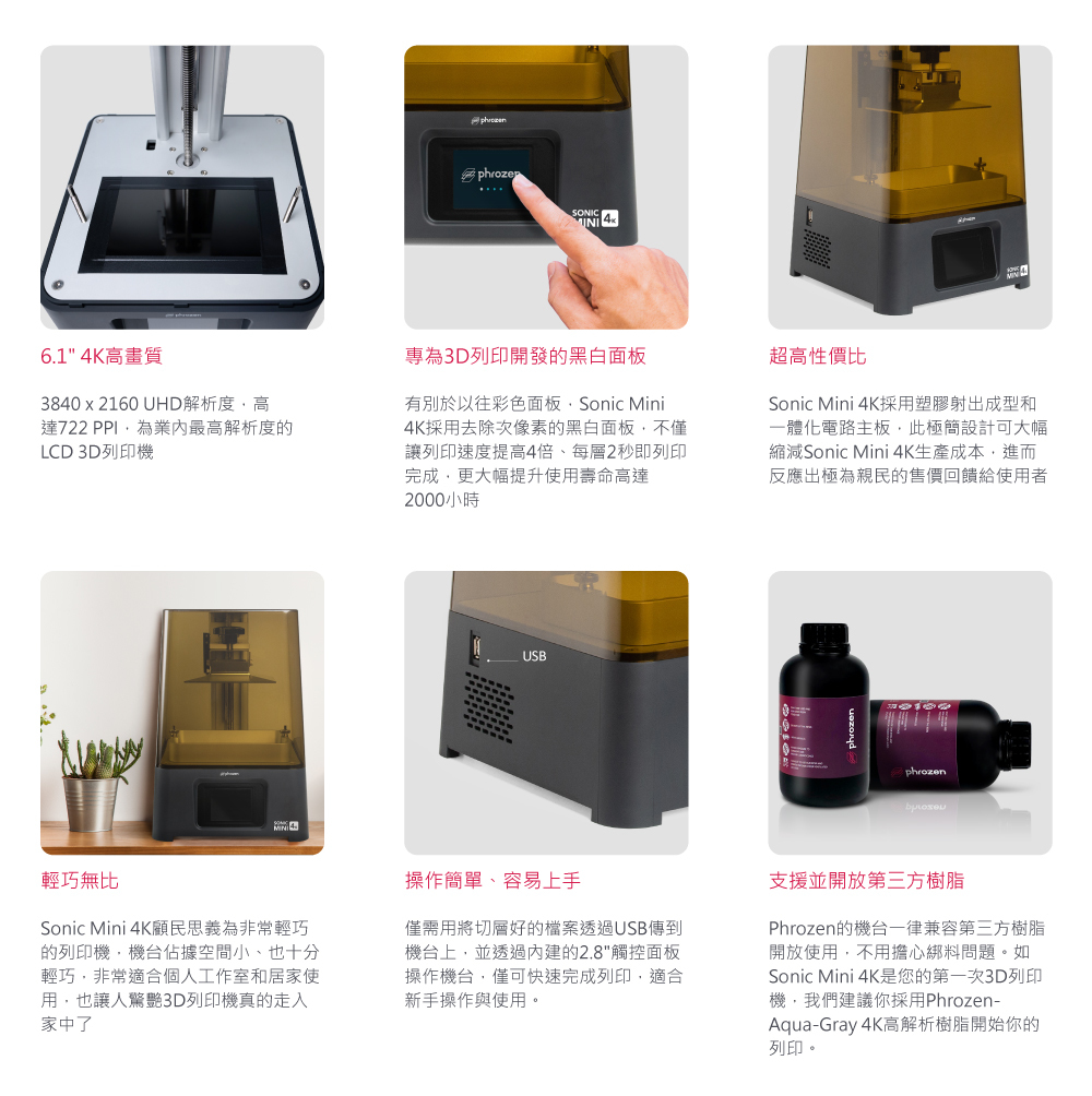 Phrozen Sonic Mini 4K 3D Printer features