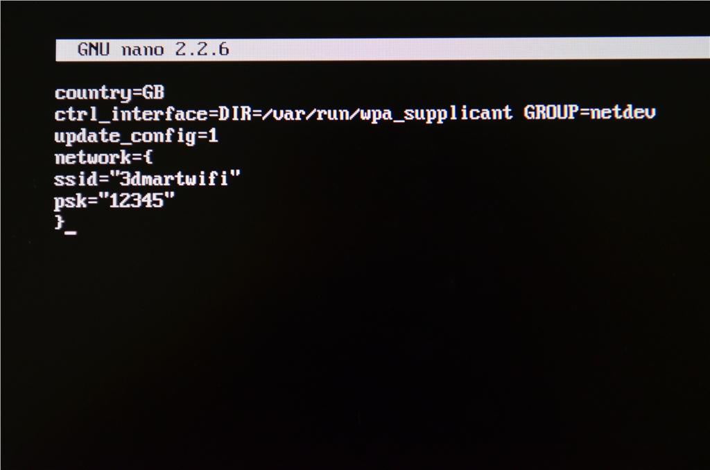 3D列印平台 3DprinterOS RaspberryPI3 準備Wifi連結輸入Wifi資料