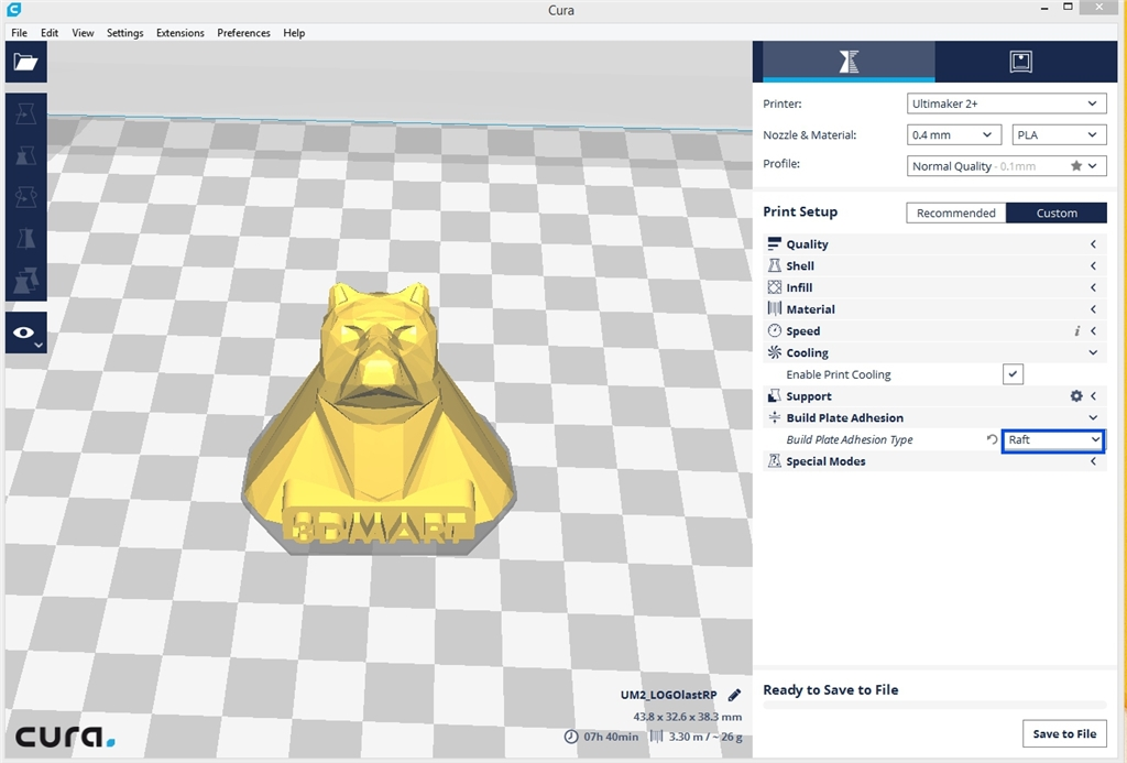 Ultimaker 3D列印 Cura切片軟體 raft1