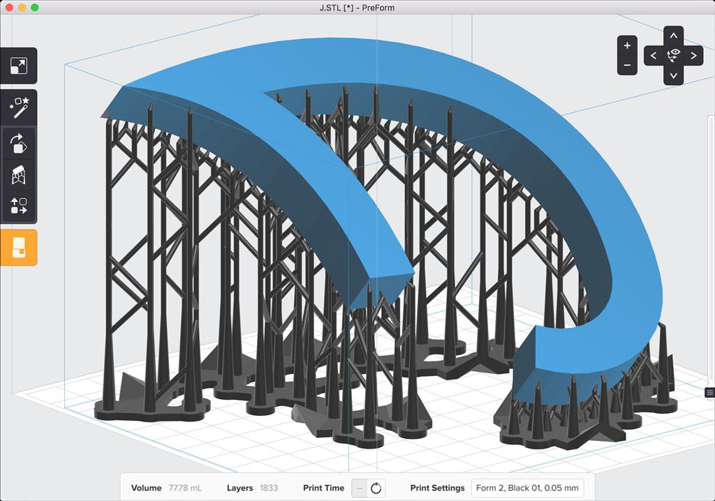 formlabs form2 preform切片軟體教學 旋轉物件 傾角大
