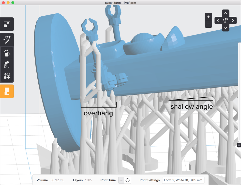 formlabs form2 preform切片軟體教學 支撐結構  懸空與角度