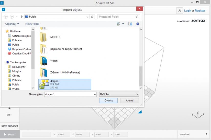 Zortrax M200  Z-Suite操作指南 載入.DFX格式